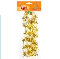 Акция! Подвеска праздничная новогодняя на елку Звезды золото  2,7 м