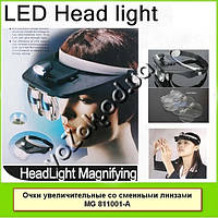 Увеличительные бинокулярные очки лупа Light Head Magnifying Glass MG811001-A, фото 1