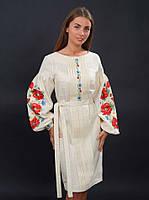 Дизайнерское вышитое женское платье с маками, лён