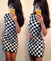 Женское платье, принт шахматная доска