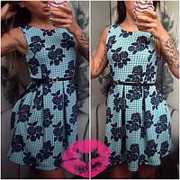 Платье юбка в складку, цветочный принт