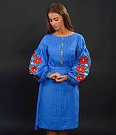 Дизайнерское вышитое женское платье с маками, синий лён