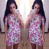 Короткое стрейчевое платье с цветочным принтом