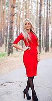 Женское однотонное трикотажное платье