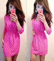 Штапельное платье с резинкой на поясе, принт якоря