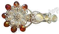 Шубный крючок-застежка 8,0 см, под серебро, в форме цветка. со стразами