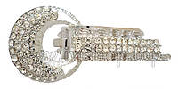 Шубный крючок-застежка 8,0 см, под серебро, круглая, со стразами