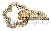 """Шубный крючок-застежка 8,0 см, под золото, фигурная, со стразами, """"Цветок"""""""