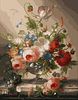 Раскраски по номерам на холсте 40 × 50 см. Цветочный натюрморт с виноградом худ. Швамбергер, Хильдегард