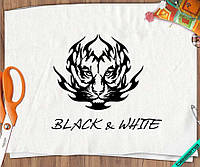Дизайн на шторы тигр [7 размеров в ассортименте] (Тип материала Флок)