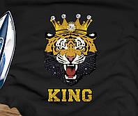 Наклейка из страз на ткань Тигр в короне (2мм-бел., 6мм-бел.,)