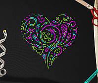 Наклейки для бизнеса на свитеры Сердце [7 размеров в ассортименте] (Тип материала Флок)