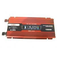 Преобразователь напряжения 1000 Вт UKC KC-1000D, 12V-220V, LCD-экран, USB 5В, КПД > 90% , аксессуары