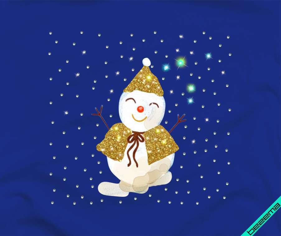 Дизайн из страз на плавки Снеговик