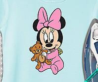 Аппликация, наклейка на ткань ребенок Минни с мишкой [7 размеров в ассортименте]