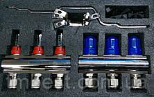Коллектор для теплого пола Gross на четыре выхода хром в сборе, фото 2