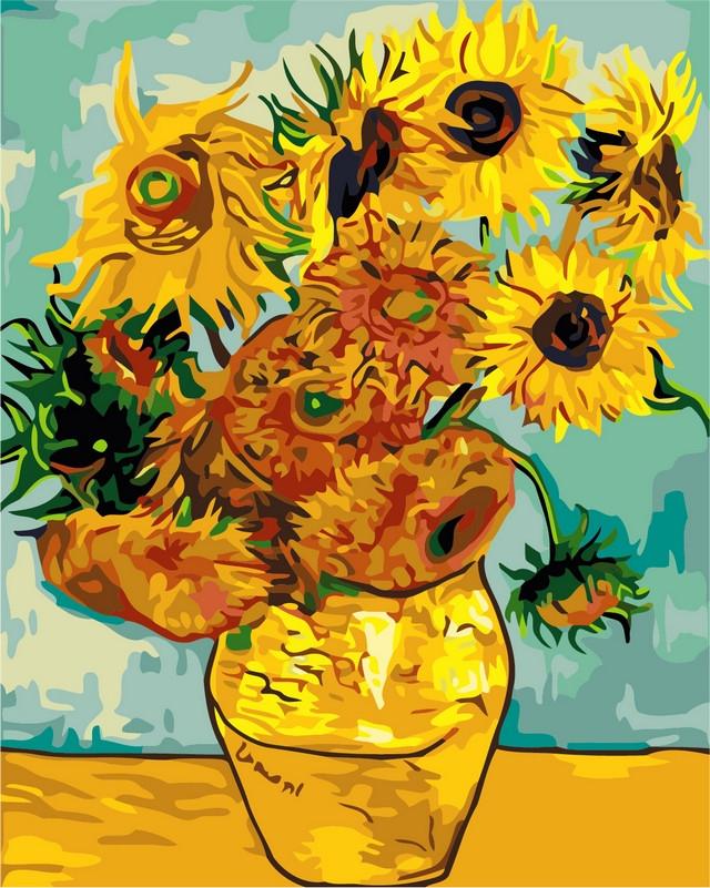 Раскраски по номерам на холсте 40 × 50 см. Подсолнухи Художник - Ван Гог.