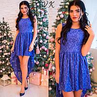 Вечернее платье из гипюра со шлейфом 3 цвета