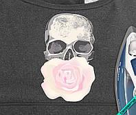 Термотрансфер на полупальто Череп с розой [7 размеров в ассортименте]