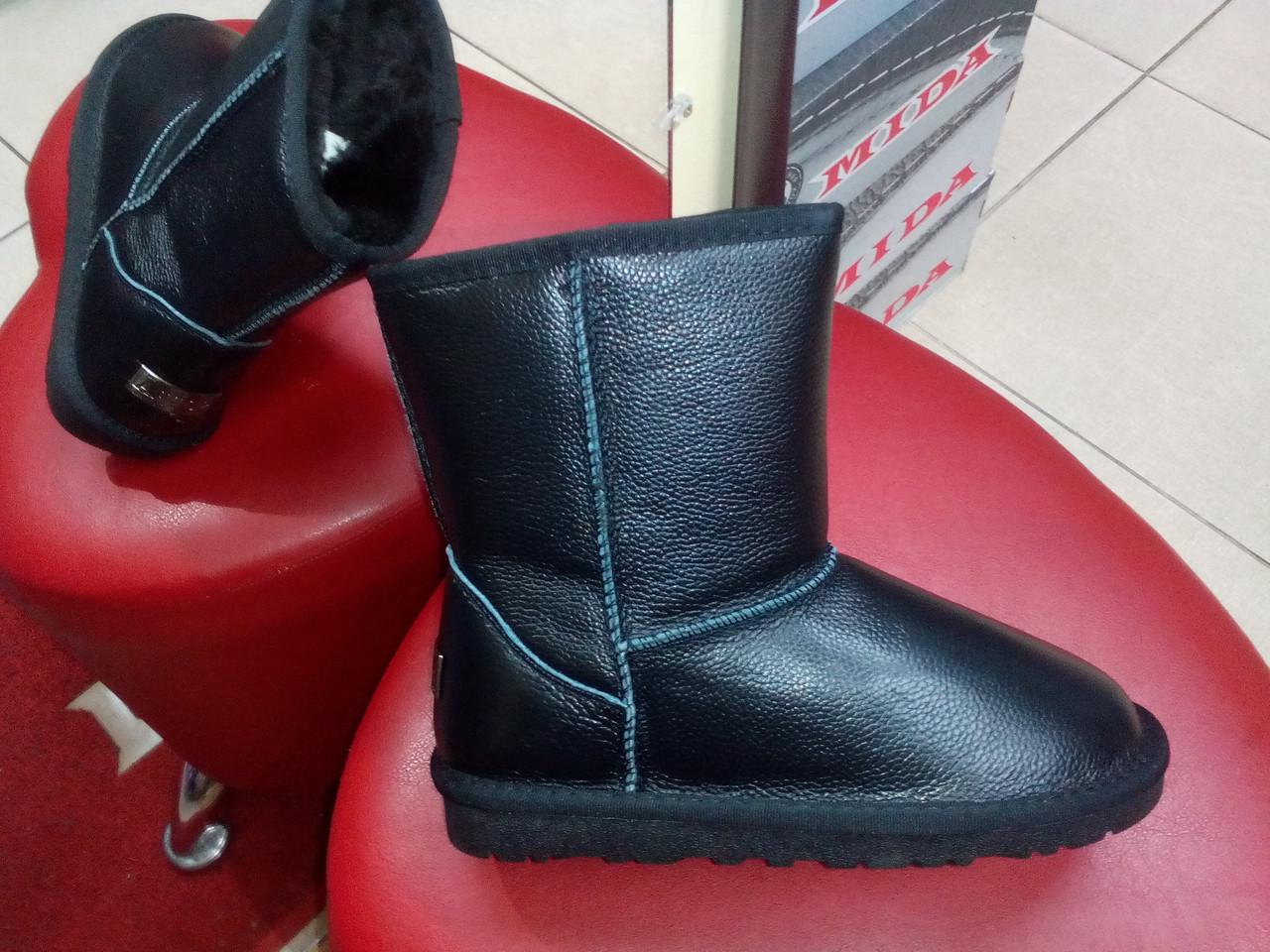 Зимние кожаные угги  PRIMA DA 5825 чёрные