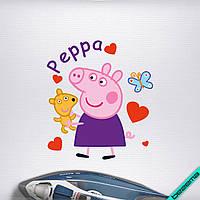 Наклейка на ткань Свинка Пеппа с игрушкой [7 размеров в ассортименте]