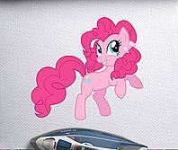 Наклейка на ткань Пони розовая с хвостиками [7 размеров в ассортименте]