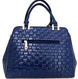 Стильная женская сумка. Эко-кожа Италия Синяя, фото 2