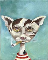 Термопереводки для бизнеса на челочно-носочные изделия Курящий кот [7 размеров в ассортименте]
