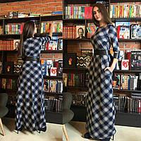 Женское длинное платье в клетку из трикотажа и экокожи сине-серый, 42