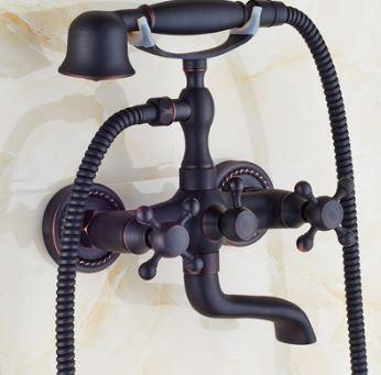 Смеситель кран с лейкой в ванную комнату черный