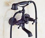Смеситель кран с лейкой в ванную комнату черный, фото 2
