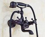 Смеситель кран с лейкой в ванную комнату черный, фото 4