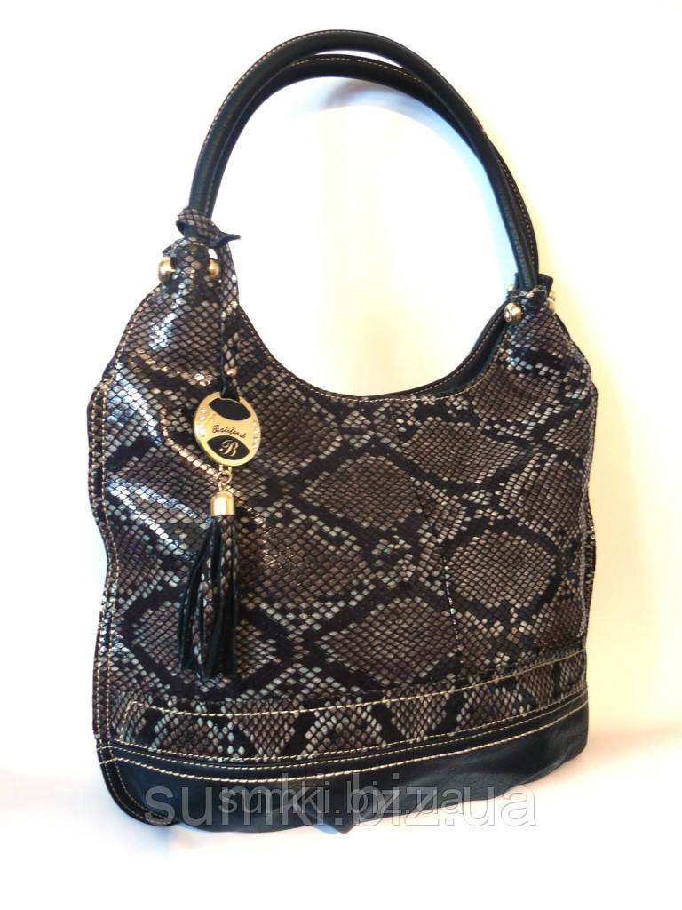 Кожаная сумочка - имитация змеиной кожи Черный
