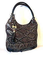Кожаная сумочка - имитация змеиной кожи Черный, фото 1