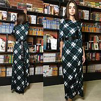 Женское длинное платье в клетку из трикотажа и экокожи зеленый, 42