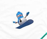 Наклейка на ткань снеговик на сноуборде [7 размеров в ассортименте]