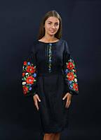 Дизайнерское вышитое женское платье с маками, черный лён