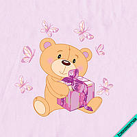 Наклейка на ткань Мишка с подарком [7 размеров в ассортименте]