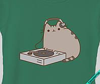 Наклейка на ткань Pusheen cat диджей [7 размеров в ассортименте]