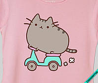 Наклейка на ткань Pusheen cat на байке [7 размеров в ассортименте]
