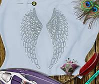 Аппликация, наклейка из страз на ткань Крылья (DMC 6.5мм-бел., 2мм-бел.)