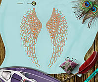 Аппликация, наклейка из страз на ткань Крылья (DMC 6.5мм-оранж., 2мм-дайм.)