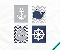Аппликация, наклейка на ткань Морская комбинация [7 размеров в ассортименте]