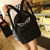 Черный городской рюкзак с крыльями Ангел, фото 1