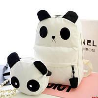 Белый городской рюкзак с сумочкой Панда, фото 1