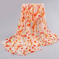 Шифоновый шарф с оранжевыми каплями, фото 1