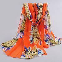 Шифоновый оранжевый шарф с цветами, фото 1
