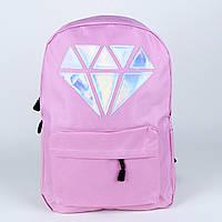 Розовый городской рюкзак с алмазом, фото 1