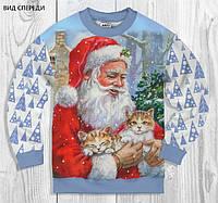 Свитшот Дед мороз с котятами Сандвич/двунитка