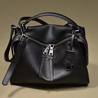 Черная кожаная сумка из телячьей кожи